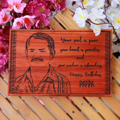 Happy Birthday Pappa Custom Engraved Wooden Frame for Dad