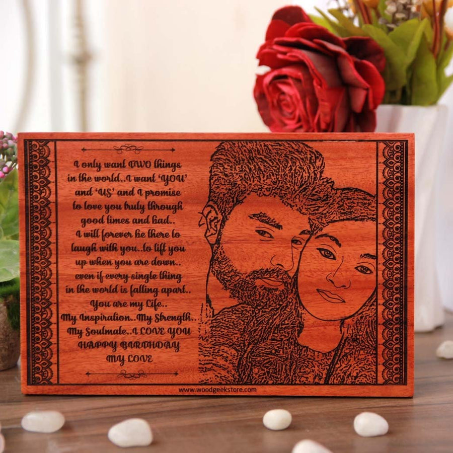 Personalised Happy Birthday Wooden Poster With Photo On Wood This Engraved Is One