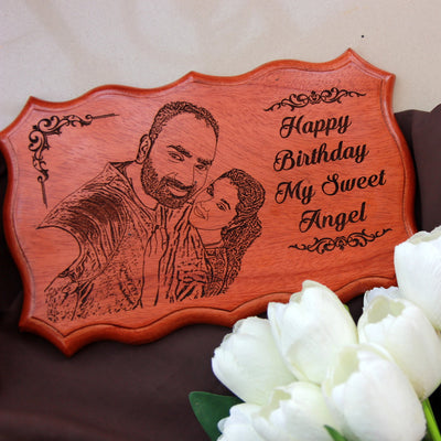 Customize A Wood Sign With Photo And Birthday Wishes As Gift For Girlfriend or Wife. Buy Birthday Gifts Online.