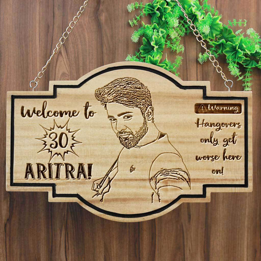 Personalized Hanging Wood Sign For Birthdays - This Birthday Plaque Is Engraved With Funny Birthday Wishes - This Personalized Wooden Plaque Makes A Perfect Birthday Gift For Friends, Family & Loved Ones - This Wood Carved Sign Is Also A Great Party Accessory.