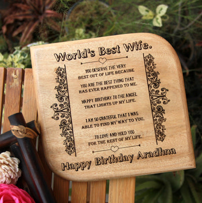 Personalised Wooden Plaque For The World's Best Wife. This is the best birthday gifts for wife and birthday gift for girlfriend. This wooden plaque makes unique birthday gifts for her and birthday gifts for women.