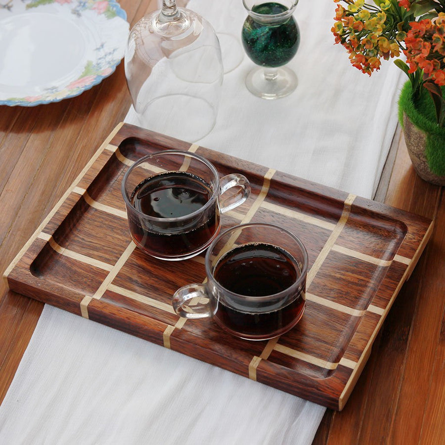 Brick Pattern Wooden Tray - Wooden Serving Tray - Coffee Serving Tray - Bar & Cocktail Tray - Wooden Tea Tray - Wooden Food Trays - Small Wooden Tray - Decorative Wooden Serving Trays - Bed Serving Tray - Large Serving Tray - Rectangular Serving Tray - Kitchen Decor - Wooden Kitchen Accessories - Woodgeek Store