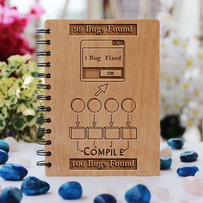 Bugs are a programmer's worst nightmare - Programming Journal - Wooden Notebook for Coders - Gifts for Computer Geeks by Woodgeek Store