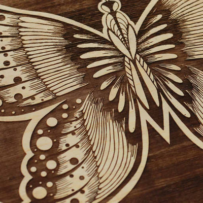 Wood Engraving - Butterfly Art Wooden Poster by Woodgeek Store - Wooden Artwork - Nature Wood Wall Hanging - Buy Wood Wall Art Decor Online