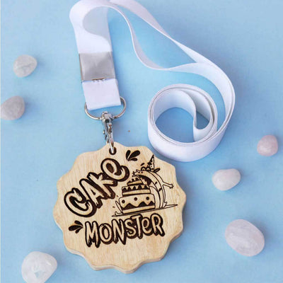 Cake Monster Funny Medal. This is the best funny gift for friends. It is also a great gift for cake lovers. Buy more funny Custom Medals Online from The Woodgeek Store.