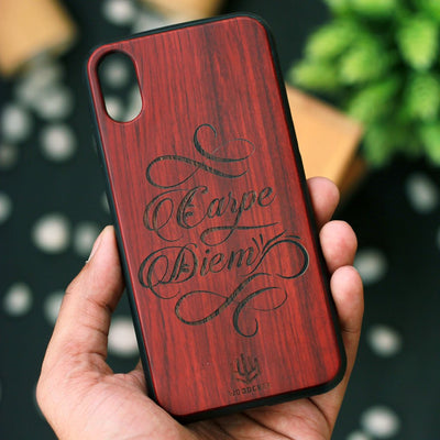 Carpe Diem Wooden Phone Case - Rosewood Phone Case - Engraved Phone Case - Inspirational Phone Case - Woodgeek Store