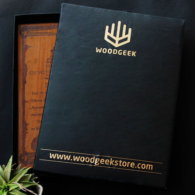 Carved Wooden Poster by Woodgeek Store Packaging for Teak & Beech Wood