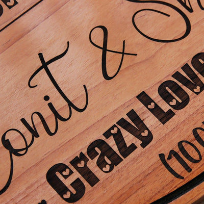 Crazy Love Story Hanging Sign. A custom wooden sign that is a great gift for boyfriend or girlfriend. This personalized wooden plaque is also a great anniversary gift and Valentine's Day gift.