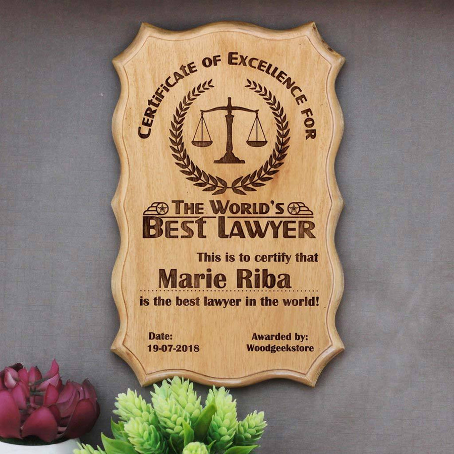 Certificate of Excellence for The World's Best Lawyer - Certificate of Recognition - Certificate of Appreciation - Custom Wooden Certificate by Woodgeek Store