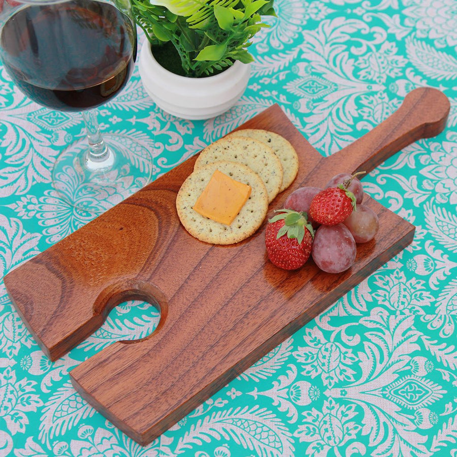Wooden Cheese Serving Board With Wine Glass Holder - Wooden Wine Glass Holder & Tray - Wine Tray Glass Holder - Wine Plates That Hold A Glass - Cocktail Plates With Wine Glass Holder - Plate with Glass Holder - Appetizer Plates With Wine Glass Holder - Wine Holder Plates - Wine Tray Glass Holder - Wine Glass Tray - Bar Accessories - Wine Accessories - Woodgeek Store