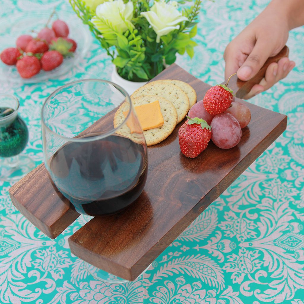 Wooden Cheese Serving Board With Wine Glass Holder