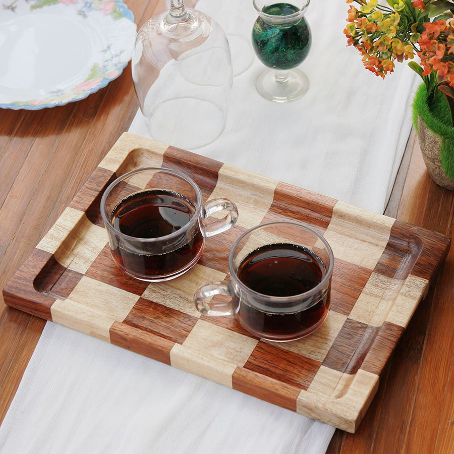 Chessboard Style Wooden Tray - Wooden Serving Tray - Coffee Serving Tray - Bar & Cocktail Tray - Wooden Tea Tray - Wooden Food Trays - Small Wooden Tray - Decorative Wooden Serving Trays - Bed Serving Tray - Large Serving Tray - Rectangular Serving Tray - Kitchen Decor - Wooden Kitchen Accessories - Woodgeek Store