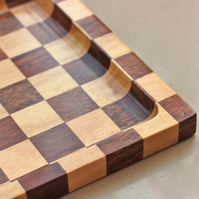 1/2 inch deep groove on wooden tray -  Chessboard Style Wooden Tray - Wooden Serving Tray - Coffee Serving Tray - Bar & Cocktail Tray - Wooden Tea Tray - Wooden Food Trays - Small Wooden Tray - Decorative Wooden Serving Trays - Bed Serving Tray - Large Serving Tray - Rectangular Serving Tray - Kitchen Decor - Wooden Kitchen Accessories - Woodgeek Store