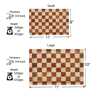 Measurement for Chessboard Style Wooden Tray - Woodgeek Store