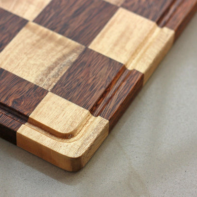 Juice Groove To Avoid Spillage - Chessboard Style Striped Wooden Chopping Board - Wood Cutting Boards - Wood Chopping Block - Butcher Block Wood - Kitchen Cutting Board - Chessboard Style Chopping Board - Best Chopping Board - Hardwood Cutting Boards - Woodgeek Store