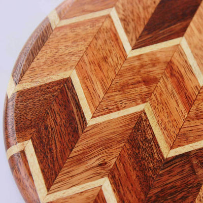 Juice Groove To Avoid Spillage - Mahogany & Birch Chevron Pattern Wooden Chopping Board