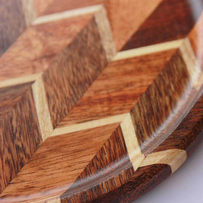 Chevron Pattern Round Wood Tray with a half inch deep groove