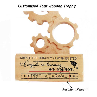 Congrats On Becoming An Engineer Wooden Engineering Trophy - This Award Plaque Makes The Best Graduation Gifts For Engineers - Looking For Gift Ideas For Engineers ? These Engineering Awards Make The Best Personalized Gifts.