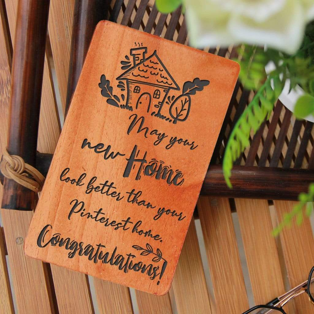 new home wooden cards  house warming wishes  new home