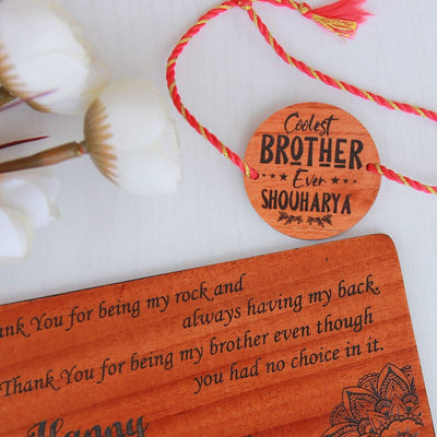 Coolest Brother Ever Personalised Rakhi and Raksha Bandhan Greeting Card - This Wooden Rakhi and Wooden Raksha Bandhan Card Is The Best Rakhi Gift for Brother - Looking For Raksha Bandhan Gift Ideas? Buy Rakhi Online and send Rakhi online with Woodgeek Store.