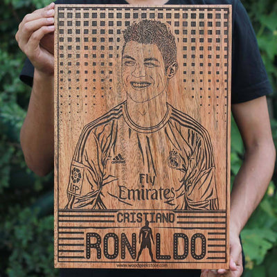 Cristiano Ronaldo Poster for Football Fans - Football Legends Wooden Poster - Gifts for Soccer Fans by Woodgeek Store
