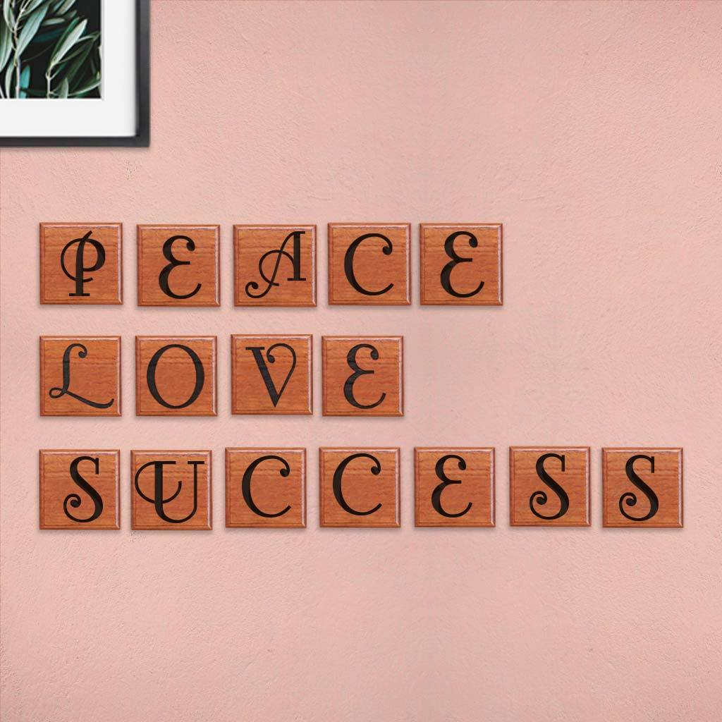 Peace Love Success Wooden Crossword Art & Scrabble Wall Art - These Wooden Letter Tiles Makes For The Best Room Decor. Looking For Onam Gift Ideas? These Personalized Crossword Wall Art Make The Best Onam Gifts For Friends And Family.