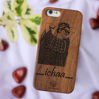 Photo Engraved Phone Cases - Wooden Phone Covers for Brothers and Sisters - Best Rakhi Gifts for Brother - Best Rakhi Gifts for Sister from Woodgeek Store - walnut Phone Case