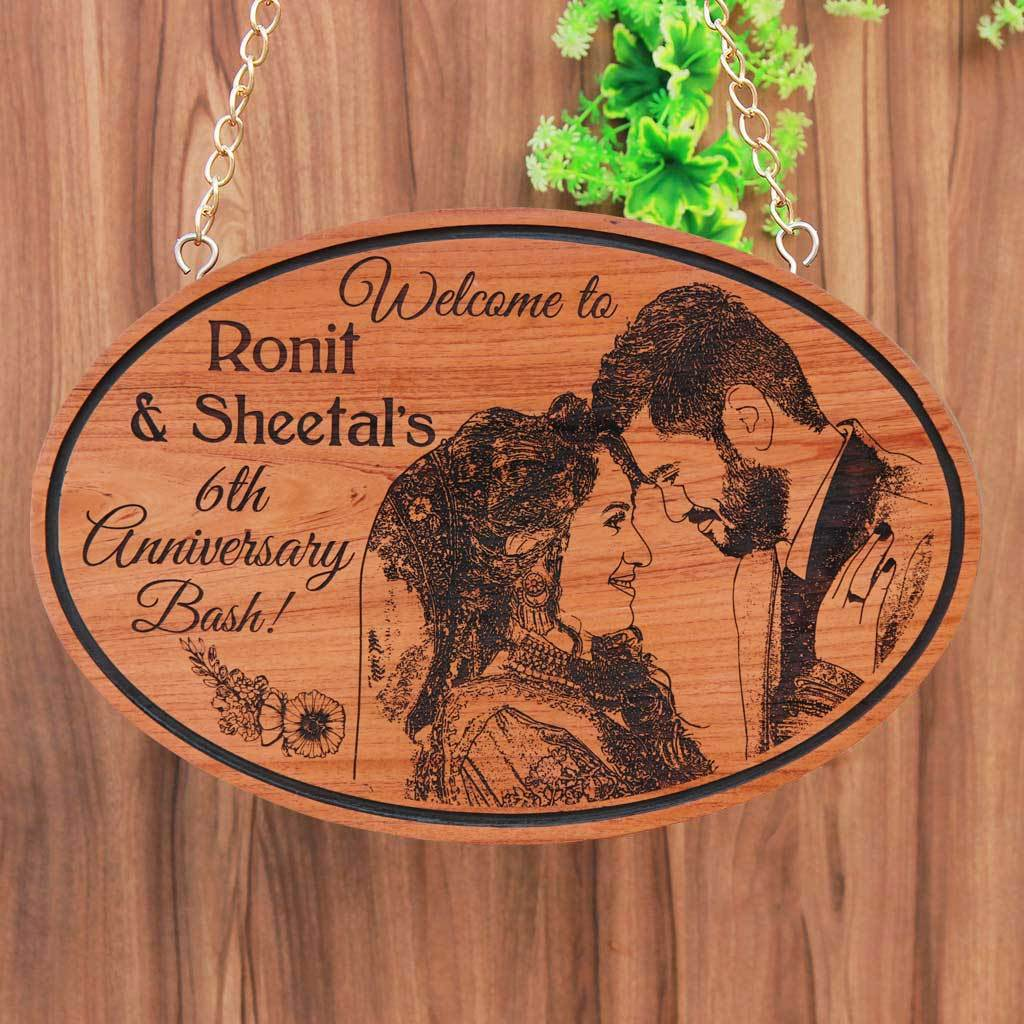 Custom Photo Engraved Hanging Wooden Sign For Anniversary. Large Hanging Sign With Photo On Wood. Looking For Photo Gifts? This Wood Engraved Photo Is The Best Gift For Husband Or Wife.