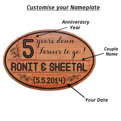 Happy Anniversary Sign - 5 Years Down Forever To Go Anniversary Plaque - Large Hanging Sign - This Engraved Wooden Plaque Makes One Of The Best Anniversary Gifts - This Wood Engraved Photo Makes A Perfect Personalized Gift