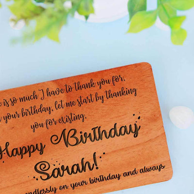Personalised Birthday Cards Custom Engraved With Personal Birthday Wishes. Wooden Birthday Cards In A Set Of 5 and 10. Customize Wooden Cards and Funny Birthday Card as birthday card for friends, birthday cards for mom, birthday cards for husband, birthday cards for dad etc.