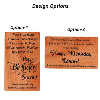 Customize Your Own Wooden Birthday Cards. Birthday Card Designs. Wooden Cards