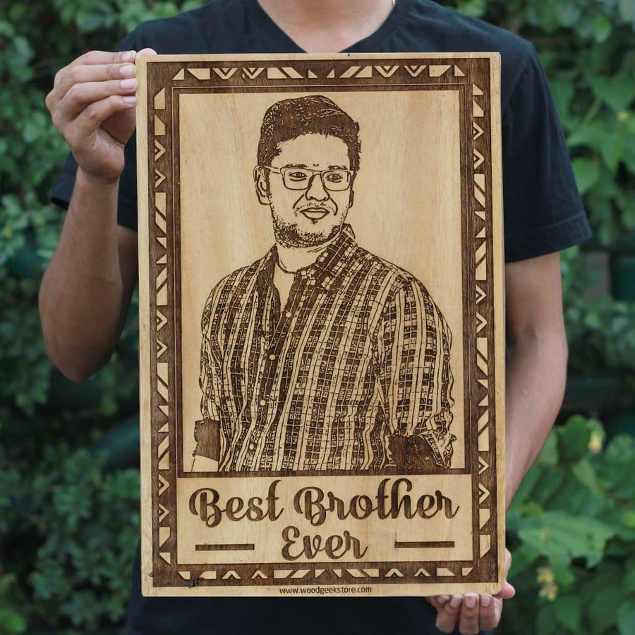 Wood Frame | Photo on Wood | Personalized Gift for Brother | Wood Art | Wooden Picture Frame - Woodgeek Store