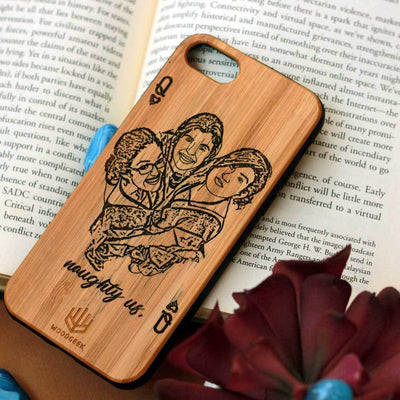 Design Your Own Phone Case - Custom Engraved Phone Cases for Friends - Photo Engraved Phone Cases - Friendship Phone case - Personalized Phone Case for Friends - Friendship Day Gifts - Personalized Birthday Gifts - Walnut Wood Phone Cases from Woodgeek Store