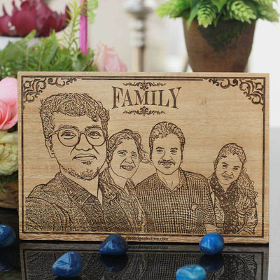 Custom Engraved Wooden Frame for Family