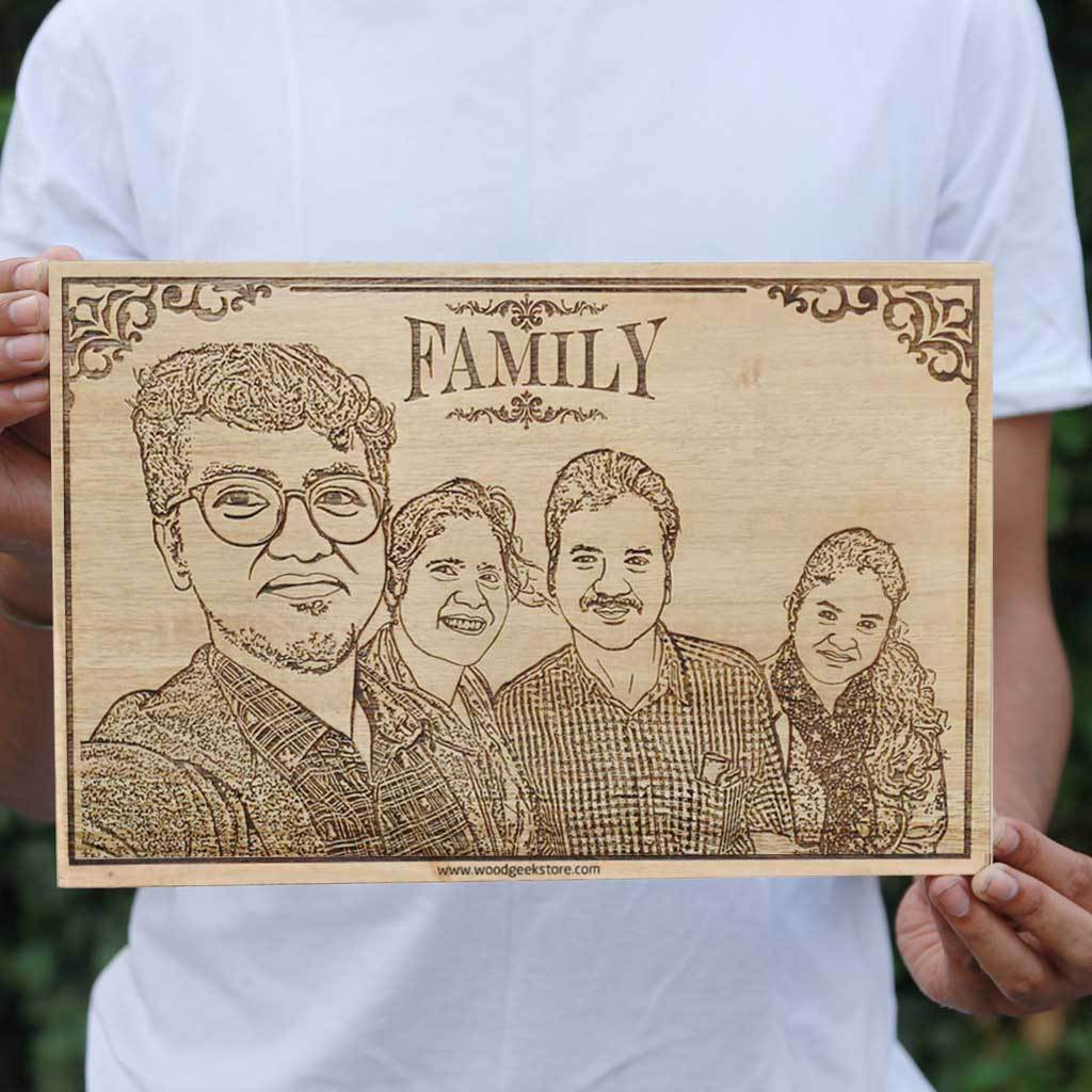 My Crazy Family Wooden Picture Frame - I love My Family Wood Wall Posters - Wood Wall Art Decor - Personalized Gifts for Family - Woodgeek Store