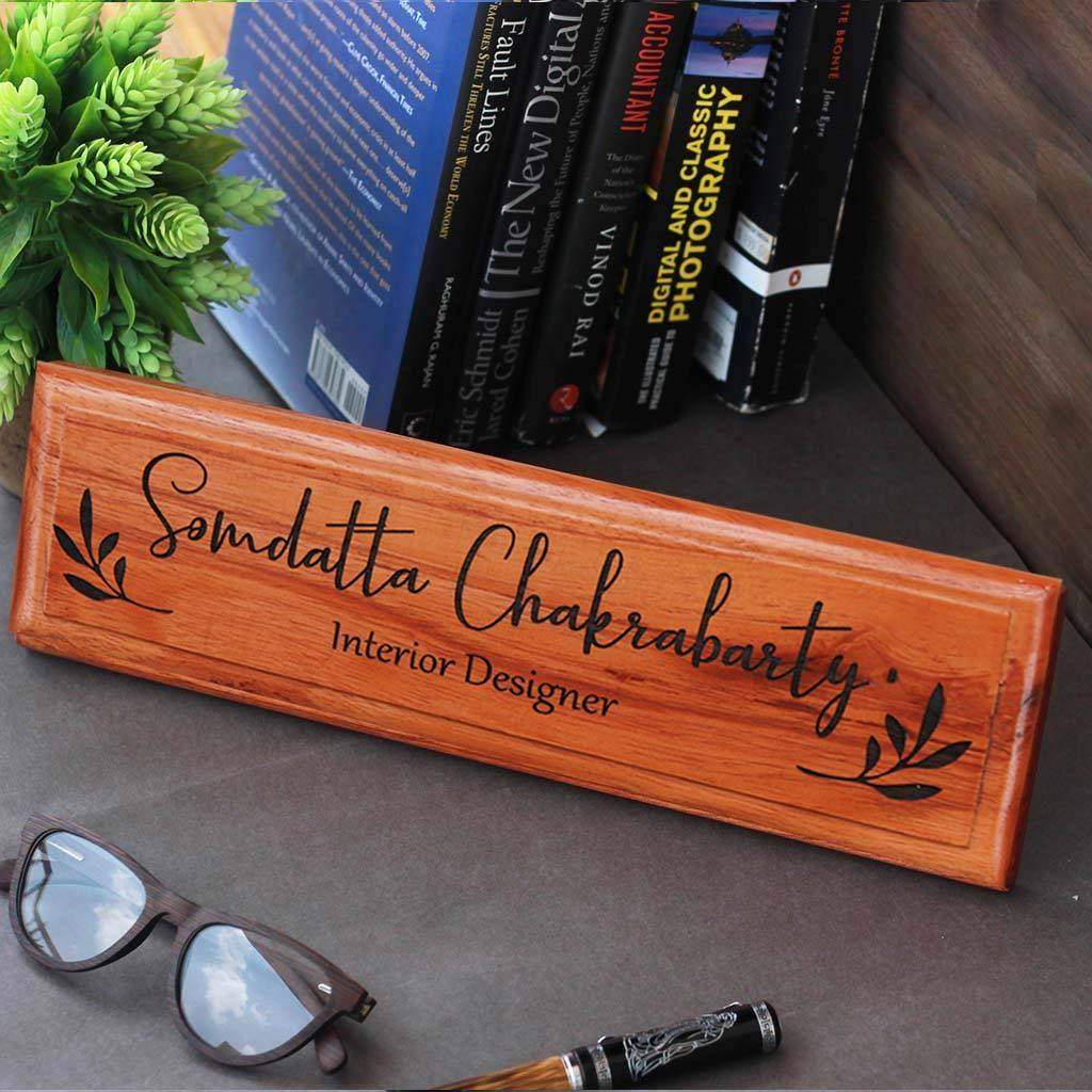 Personalized wooden nameplates for Interior Designers - Gifts for Interior Designers - Engraved Desk & Door Nameplates for Office by Woodgeek Store