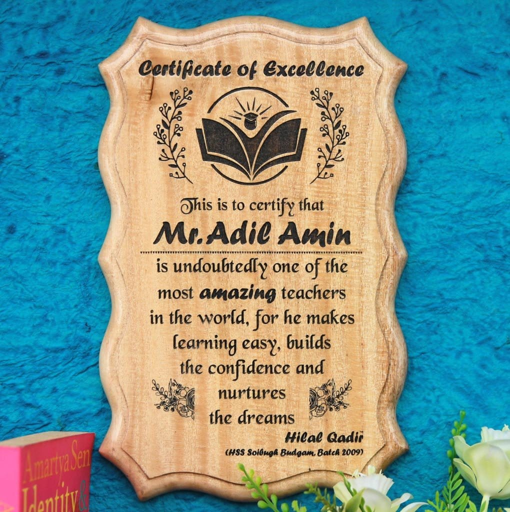Personalized World's Greatest Teacher Certificate - This Certificate Of Excellence Makes The Best Teacher Award - Looking For Unique Gifts for Teachers on Teacher's Day? This Custom Wooden Certificate Of Appreciation Makes The Best Teacher Gifts - Shop More Gifts For Teachers Online From The Woodgeek Store.