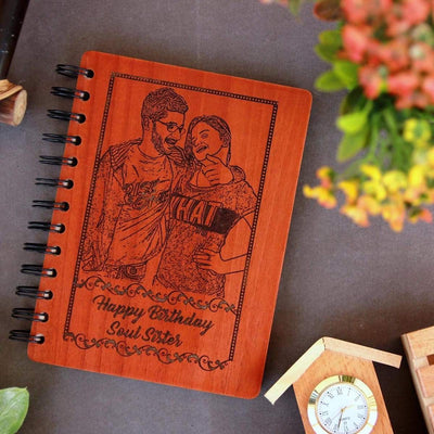 Happy Birthday Soul Personalized Wooden Notebook - This Notebook Journal Can Be Customized With A Photo Engraving On Wood And A Personal Message - Shop More Photo Gifts For Sister From Brother From The Woodgeek Store