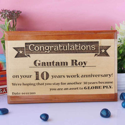 Congratulations On Your Work Anniversary Wooden Plaque. This wooden trophy and award plaque makes great office gifts. This is one of the best gifts for employees.