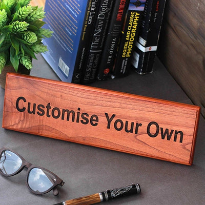 Custom Made Mahogany Wooden Nameplate by Woodgeek Store - Customize Your Own Wooden Sign