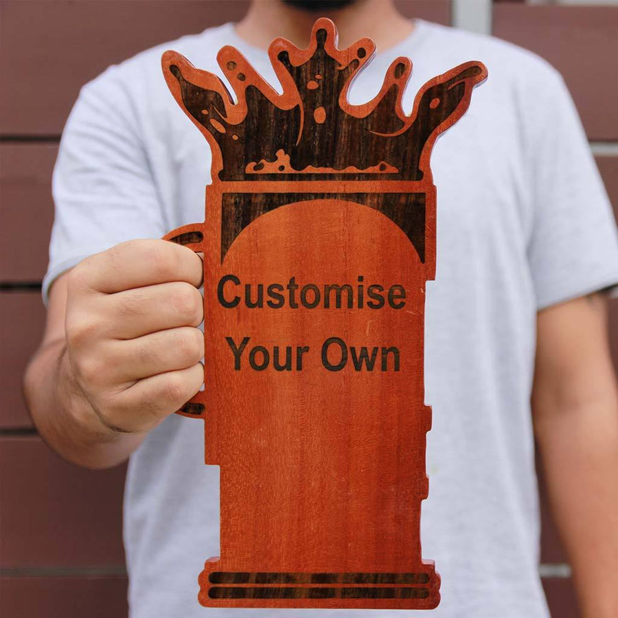 Customize Your Own Wooden Beer Plaque.  Create Your Own Custom Trophies. Make Your Own Football Trophy, Badminton Trophy or Other Sports Awards, Best Employee Award or Other Employee Appreciation Awards, Funny Awards and Trophies Online From The Woodgeek Store.