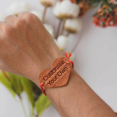Customize Your Own Wooden Rakhi - Personalised Rakhi - Raksha Bandhan Gifts by Woodgeek Store