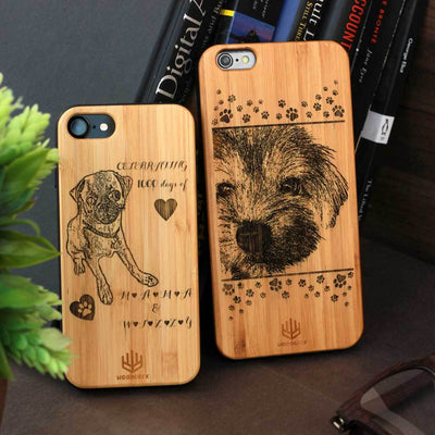 Create Your Own Phone Case - Photo Engraved Phone Cases - Wooden Phone Case - Personalized Wooden Phone Covers Engraved With A Photo Or Quote At Woodgeek Store