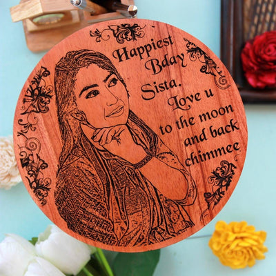 Customized Wooden Photo Frame For Sister's Birthday. A Wood Engraved Photo Of Your Sister Makes The Best Rakhi Gift or Birthday Gift For Her. Buy More Personalized Special Gifts For Her Online From The Woodgeek Store.