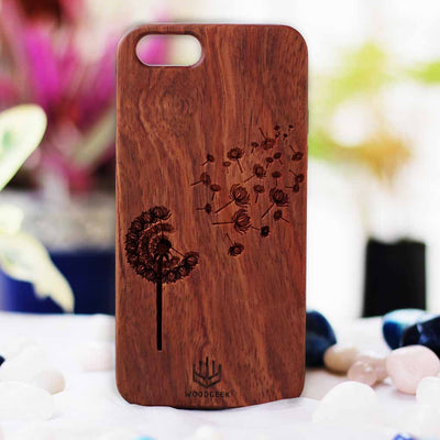 Dandelion Wooden Phone Case from Woodgeek Store - Rosewood Phone Case - Engraved Phone Case - Wooden Phone Covers