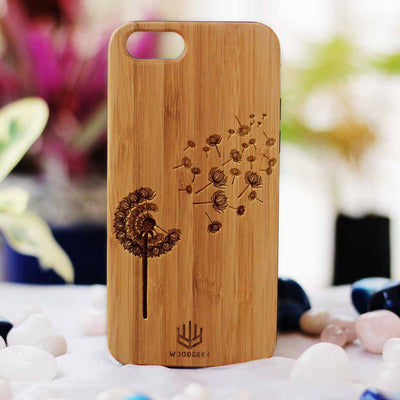Dandelion Wooden Phone Case from Woodgeek Store - Bamboo Phone Case - Engraved Phone Case - Wooden Phone Covers