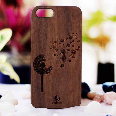 Dandelion Wooden Phone Case from Woodgeek Store - Walnut Wood Phone Case - Engraved Phone Case - Wooden Phone Covers