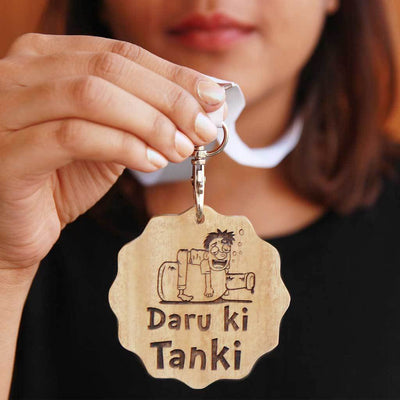 Daru Ki Tanki Wooden Medal With Ribbon. This Funny Medal Is Engraved On Mahogany or Birch Wood. These Funny Medals Make Great Friendship Day Gifts Or A Simple Birthday Gift For Friends Who Love Drinking.