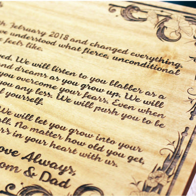 Dear Baby Wood Engraved Letter - letter to Your Future Baby - Personalized Gifts for Babies by Woodgeek Store
