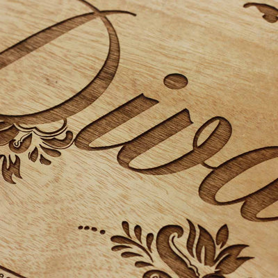 Wood Engraving - Diva Wood Word Sign - Wood Wall Posters - Wood Wall Art Decor - Woodgeek Store